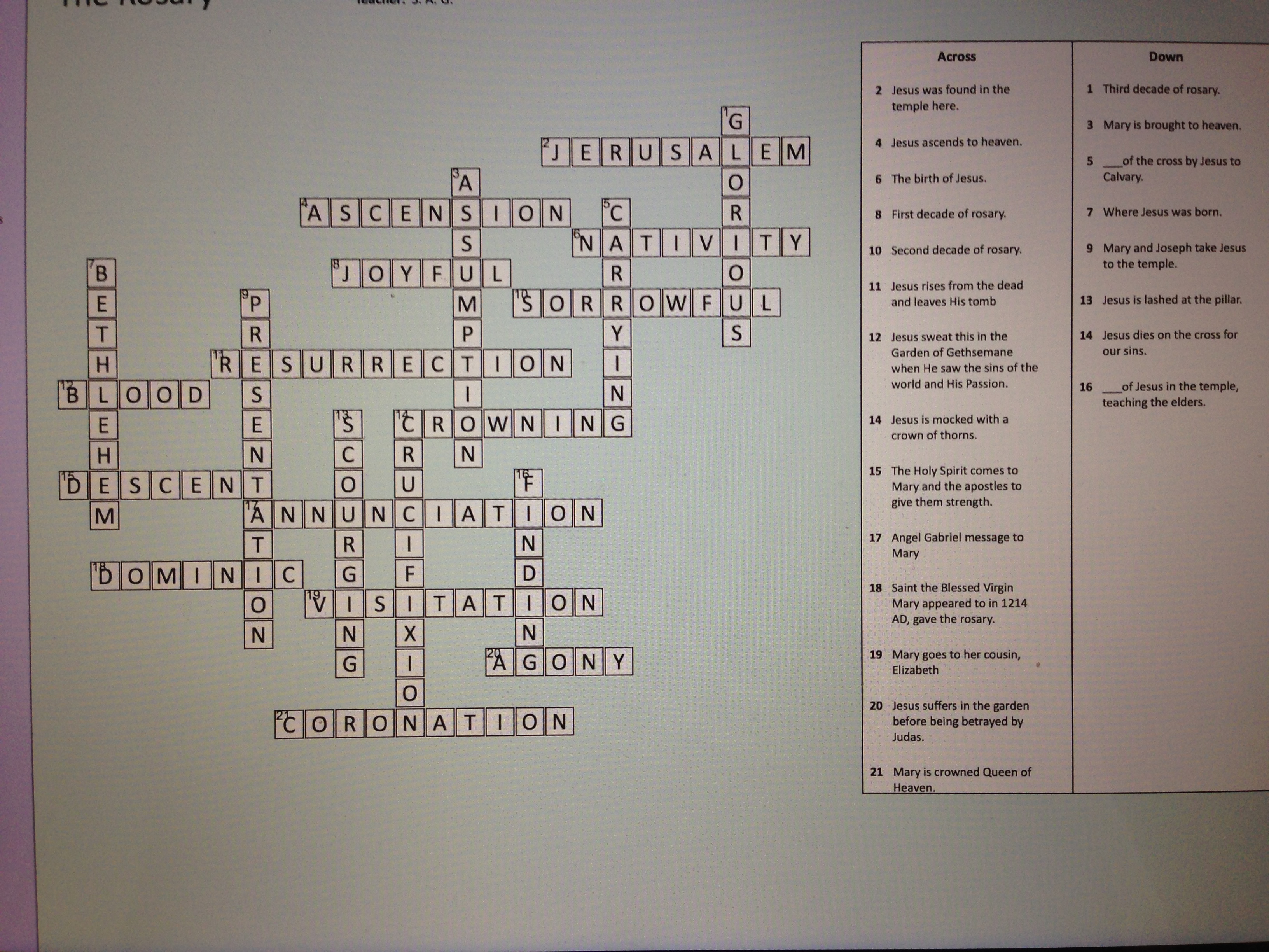 Catholic Crossword Puzzle  U00ab Studyyourfaith